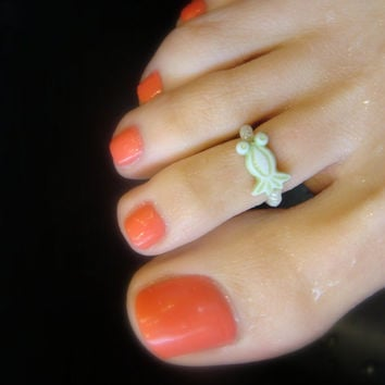 Toe Ring, Frog, Pollywog, Green Beads, Polymer, Bead Toe Ring