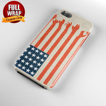 The Walking Dead America Flag Full Wrap Phone Case For iPhone, iPod, Samsung, Sony, HTC, Nexus, LG, and Blackberry