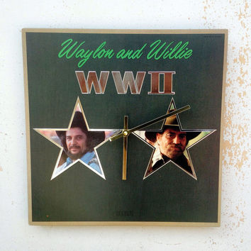 Clock, Record Clock, Record Cover Art Clock, Wall Clock, Waylon and Willie Record Cover, Recycled, Upcycled Gift Item #8