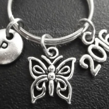 Sale.... Small butterfly, 2016 keyring, keychain, bag charm, purse charm, monogram personalized gifts under 10 item No.683
