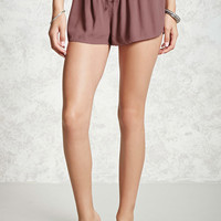 Lace-Up Crepe Woven Shorts