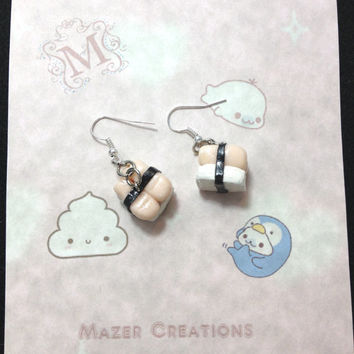 Shrimp Sushi Polymer Clay Earrings Kawaii