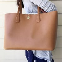 NWT Tory Burch Perry Pebbled Leather Bark Brown Gold Large Tote Handbag $395