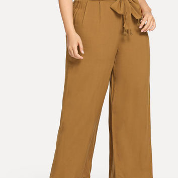 Plus Wide Leg Tassel Hem Pants