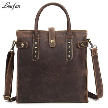 Men's Vintage crazy horse leather tote bag hard genuine leather shoulder bag fashion cowhide casual messenger bag durable