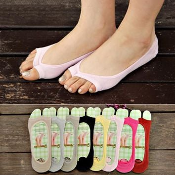 Fashion Women Cotton Elastic Invisible Liner No Show Peds Low Cut Peep Toes Open Toe Socks