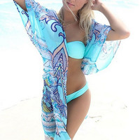 Print Chiffon Beach Cardigan With Tassel B005710