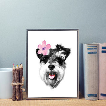 Free to Dream dog art print, schnauzer wall art, dog print, dog wall art, animals printable art, printable art, home decor print, poster