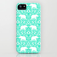 Elephant Damask Mint iPhone & iPod Case by Jacqueline Maldonado