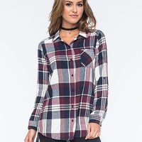 Full Tilt Rectangle Plaid Womens Boyfriend Flannel Shirt Multi  In Sizes
