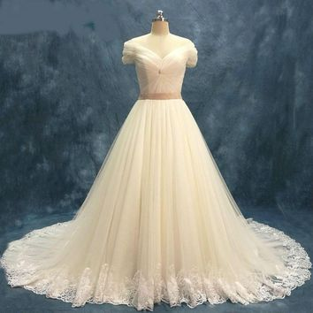 Tulle Wedding Dresses short sleeves off the shoulder bridal Gowns net lace Robe