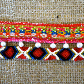 SALE Flowered Pink Bohemian-Andean Inspired Bracelet with Peruvian Textile and Friendship Bracelet