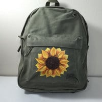 Canvas Backpack Hand Painted with a Sunflower
