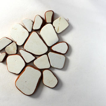 genuine beach pottery shards, undrilled, jewelry quality, italian, natural artisan beads, (286)