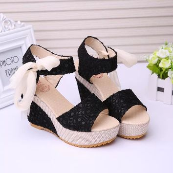 US SIZE Women Sweet Floral Buckle Open Toe Wedge high-heeled Sandals