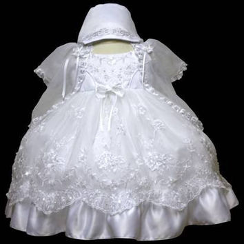 Baby Girl Toddler Christening Baptism Dress Gowns outfit set with bonnet /XS/S/M/L/XL/0-3M/3-6M/6-12M/12-18M/18-24M/XSMALL/SMALL/MEDIUM/LARGE/XL/2t/#5605