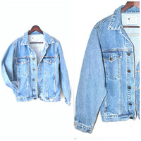 90s GUESS jean jacket vintage 1990s GRUNGE faded stone wash OVERSIZED relaxed fit jean jacket os