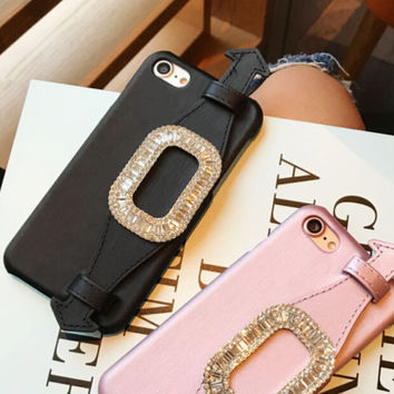 Luxurious Rhinestone Square Buckle Wristband Case for iPhone 7 7Plus & iPhone se 5s 6 6 Plus Best Protection Cover +Gift Box-142