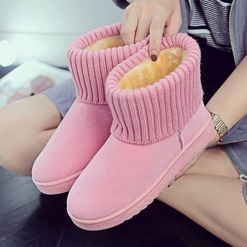2018 Winter Woman Snow Boots Ankle Boots Buckle Strap Solid Platform Slip On Women Flats Casual Women Shoes