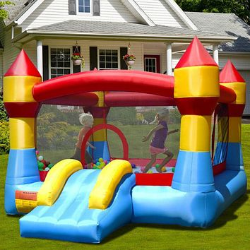 Kids Inflatable Bounce House, Castle Blow UP Air Jumper, Moonwalk, Slide, NO Blower