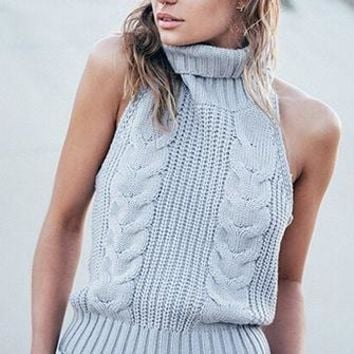 Most Wanted Light Grey Sleeveless Turtleneck Backless Halter Cable Knit Pullover Sweater Tank  -  3 Colors Available