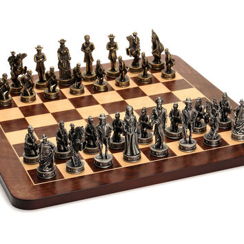 Civil War Chess Set, Brass/Silver, Indoor Games