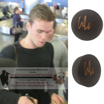 Connor McDavid Autographed Ice Hockey Puck, Edmonton Oilers, Proof Photo