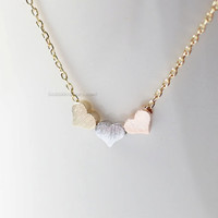 3 hearts necklace, tiny three hearts gold, silver, rose gold, dainty heart necklace, wedding gifts, bridesmaid gifts