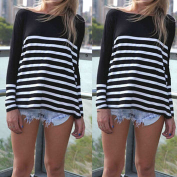LOOSE STRIPED LONG-SLEEVED ROUND NECK T-SHIRT