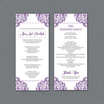 Wedding Program Template | Printable Ceremony Program Template | Editable MS Word Template | Instant Download | wp-054