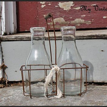 Vintage Bottle holder with Milk Bottles by MyVintageLane on Etsy