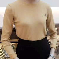 Candy Color Long Sleeve Jewel Neck T-Shirt