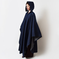 Vintage Hooded Denim Cape