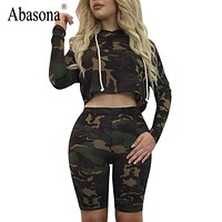 Abasona Casual style 2 piece hoodies jumpsuit short Pants romper camouflage printed long Sleeve skinny playsuits women jumpsuit
