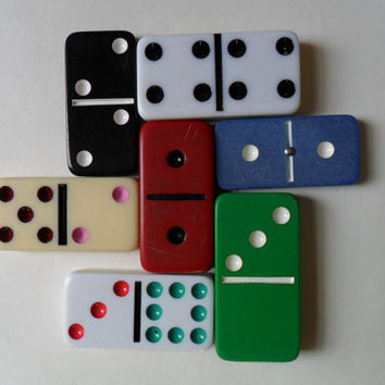 instant collection . retro games . vintage dominoes . 7 distressed dominoes