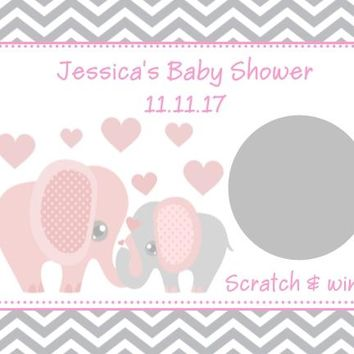 10 Pink Elephant Baby Shower Scratch Off Cards