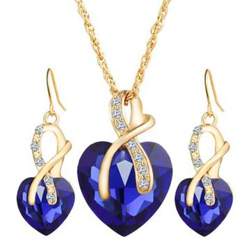 """PEACOCK"" Fashion Jewelry Sets For Women (Crystal Heart Necklace Earrings)"