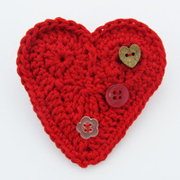 Red heart crochet brooch pin with cute buttons