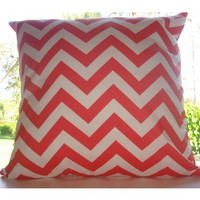 Coral Chevron Dorm Decorative Throw Pillow *Avail. In All Sizes* | Teen Girl Dorm Room Bedding