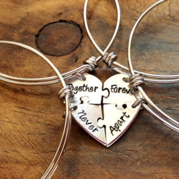 Together Forever Never Apart Four Piece Puzzle Heart Bagle Set, Handstamped 4 Split Heart Bangle Set, Sisters Jewelry, Best Friends Set