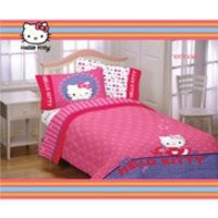 4pc Hello Kitty Poodle Bedding Set - Sanrio Comforter Sheets - Twin Bed