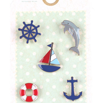 Nautical Anchor Dolphin Pin Brooch Set