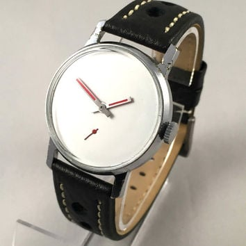 "Minimalist Vintage Soviet men's watch called ""VICTORY""( Pobeda),plain white dial with red hands, comes with high quality new leather band!"
