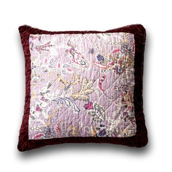 DaDa Bedding Set of 2 Bohemian Patchwork Burgundy Wine Velvet Floral Throw Pillow Covers, 18""