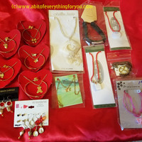 14 piece teen girls jewelry lot necklaces bracelets earrings chains cords