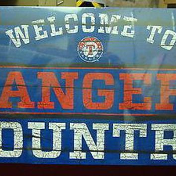 "TEXAS RANGERS WELCOME TO RANGERS COUNTRY WOOD SIGN 13""X24'' BRAND NEW WINCRAFT"