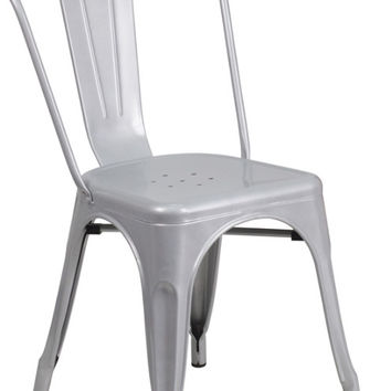 Silver Metal Indoor-Outdoor Stackable Chair