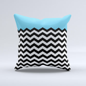 Solid Blue with Black & White Chevron Pattern Ink-Fuzed Decorative Throw Pillow