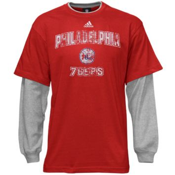 adidas Philadelphia 76ers Youth Faux-Layered Long Sleeve Thermal T-Shirt - Red/Gray - http://www.shareasale.com/m-pr.cfm?merchantID=7124&userID=1042934&productID=555885055 / Philadelphia 76ers