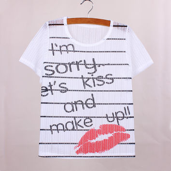 Newest stripe letters printed women t-shirts breathable material cothing fashion summer dress girls casual top tees